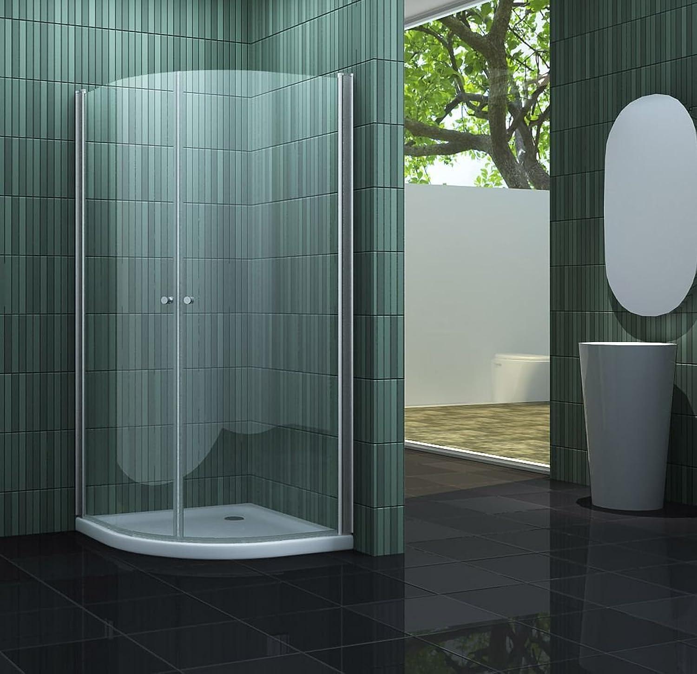 Duschkabine SCALLO 90 x 90 x 195 Viertelkreis inkl. Duschtasse