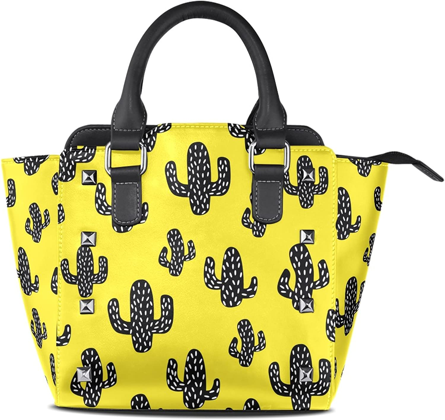 My Little Nest Women's Top Handle Satchel Handbag Black Cactus Yellow Ladies PU Leather Shoulder Bag Crossbody Bag