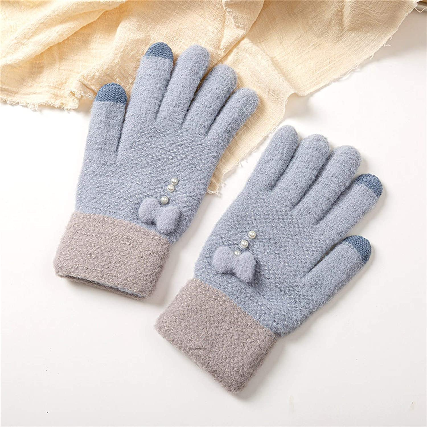 HUKJIAIJ Gloves Fashion Female Knitted Gloves Winter Bow-Knot Pearl Decoration Women Outdoor Full Finger Gloves Thick Keep Warm Lady Mittens (Color : Blue, Gloves Size : One Size)
