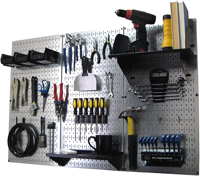 Pegboard Organizer Wall Control 4 Ft Metal Pegboard Standard Tool Storage Kit With Galvanized Toolboard And Black Accessories