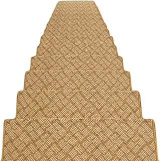 JIAJUAN Thick Stair Carpet Treads Rubber Backing Non-Slip Washable Step Mat, 7 Colors, 5 Sizes, Customize (Color : A -1 pc...