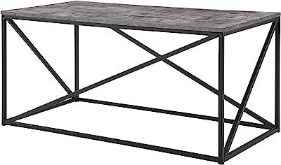 Walker Edison Modern Geometric Metal Rectangle Coffee Table Living Room Accent Ottoman Storage Shelf, 40 Inch, Dark Concrete Grey