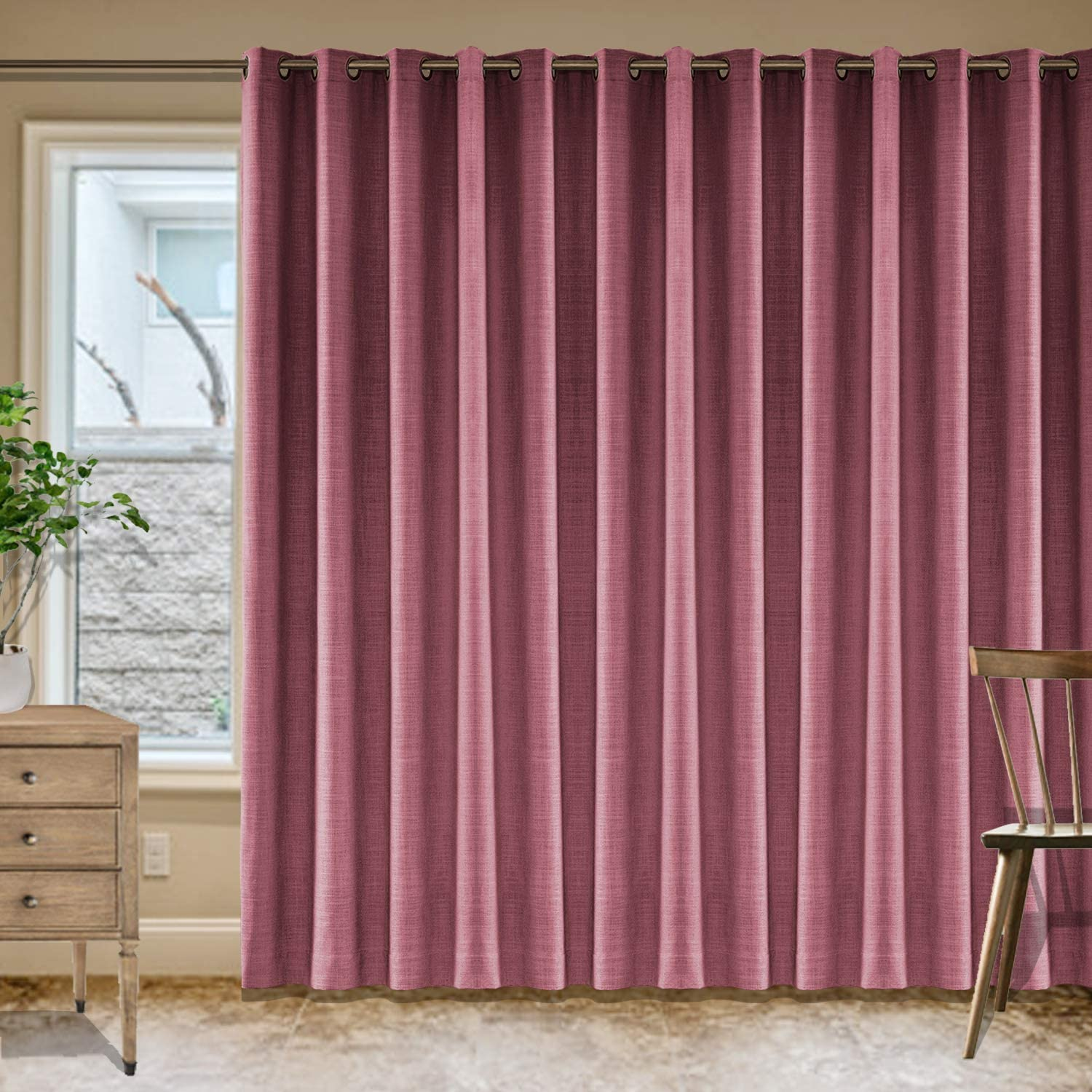 Frelement Burgundy Red Breathable Faux Linen Curtains 賜物 Noise Redu お得