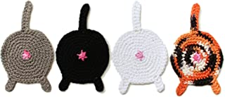 crochet cat bum coasters