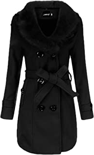 dahuo Womens Elegant Faux Fur Collar Trench Coat Double Breasted Pea Overcoat