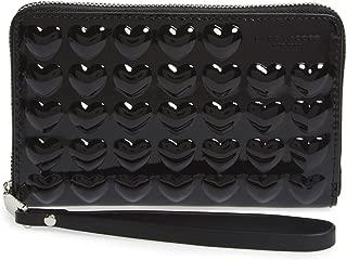Embossed Heart Leather Smartphone Wallet - Black
