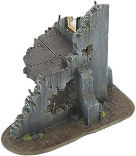 War World Gaming War Torn City Ruined Multi-Storey Corner Building with Firing Hole - 28mm Heroic Scale Wargaming Terrain ...