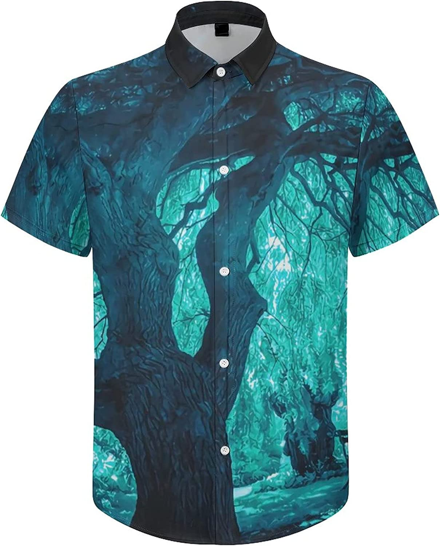 Hawaiian Shirts for Men Magical Tree Printed Beach Shirt Hawaiian Shirts