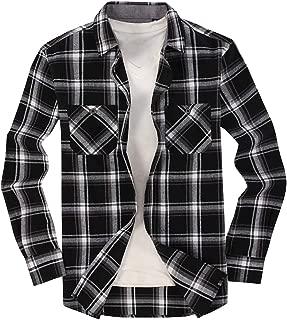 Mens Casual Button Down Shirts Regular Fit Long Sleeve Flannel Shirt