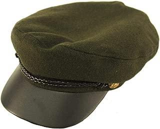 Men's Wool Faux Leather Greek Fisherman Sailor Fiddler Driver Hat Flat Cap