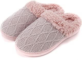 Women's House Slippers Comfort Sweater Knit Memory Foam Slippers Anti-Slip Sole