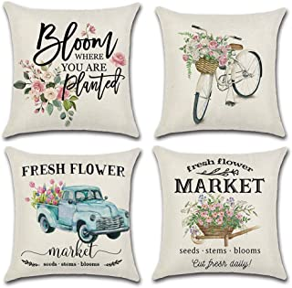 أغطية وسائد أريكة من LIYACHAO Spring Decor Fresh Flower Market للدراجة مقاس 16 × 16 مجموعة من 4 أغطية وسائد من القطن والكت...