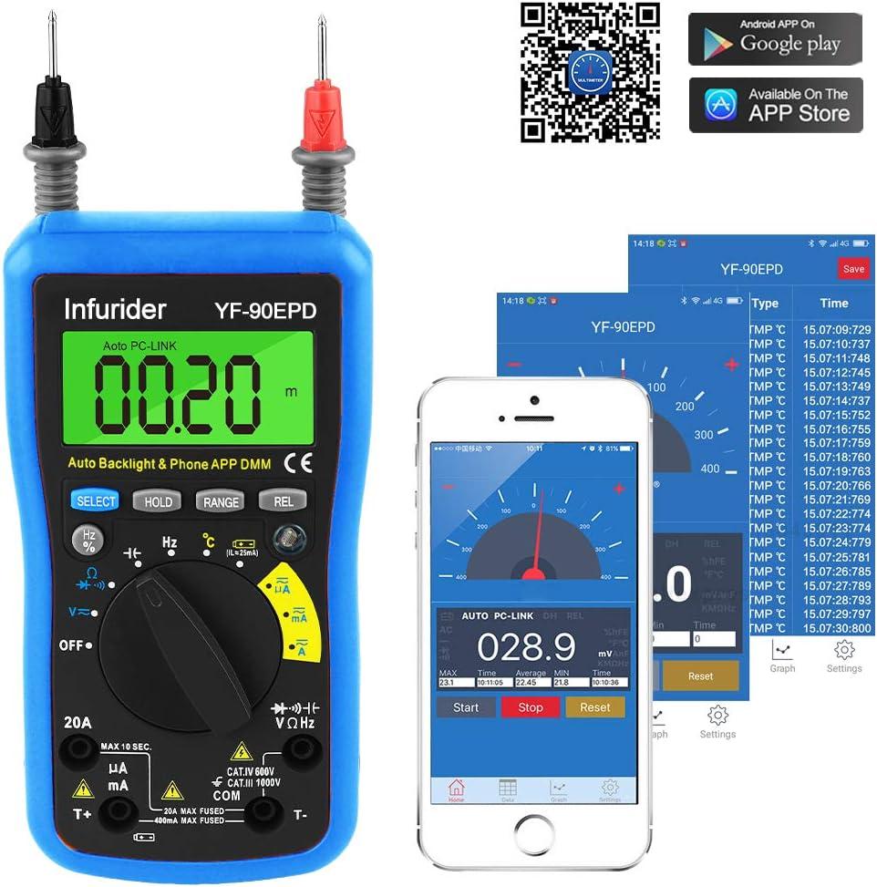 INFURIDER 90EPD Multímetro Digital Voltímetro de Rango Automático Avómetro DMM con Conexión Bluetooth Teléfono para Voltaje CA/CC, Corriente, Resistencia, Tapa, Temperatura, Hz, Probador de Batería