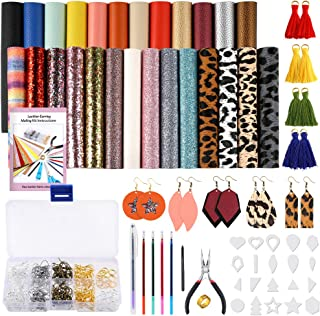 PP OPOUNT Leather Earring Making KitsInclude Instructions, 26 Pieces 7 Styles Faux Leather Fabric,180 Pieces Earring Hook...