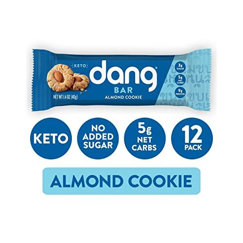Dang Keto Bar | Almond Cookie | 12 Pack | Keto Certified, Vegan, Low Carb, Low Sugar, Plant Based, Non GMO, Gluten Free Snacks | 5g Net Carbs, 9g Protein, No Added Sugars