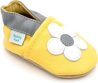 Dotty Fish Chaussures en Cuir Souple bébé et Bambin. 0-6 Mois - 4-5 Ans. Semelle Souple. Fleurs pour Les Filles.