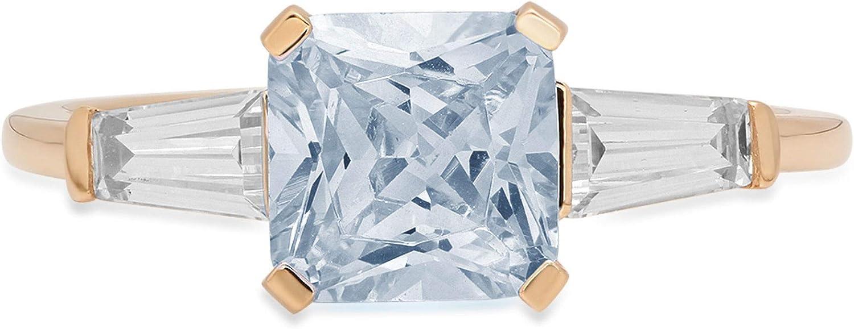 1.56ct Square Emerald Baguette cut 3 stone Solitaire Designer Genuine Natural Sky Blue Aquamarine Gemstone Ideal VVS1 Engagement Promise Statement Anniversary Bridal Wedding ring 14k Yellow Gold