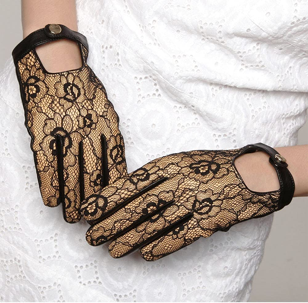 Kioiien Sheepskin Leather Gloves for Women Lace Fashion Banquet Women Leather Gloves Texting Typing Touch Screen Mitten Motorcycle Driving Cycling Driving Gloves (Size : 8cm)