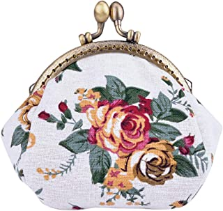 Oyachic Coin Pouch Canvas Card Purse Clasp Closure Classic Rose Pattern Keys Wallet Gift Round