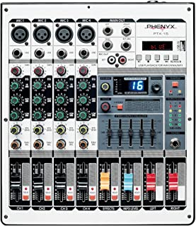 Professional Audio Mixer, Phenyx Pro PTX-15 Mixing Console, 4 Inputs, USB, Stereo Equalizer W/ 16 DSP Effects, Ideal for Stage, Live Gigs, and Karaoke (PTX-15A)