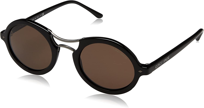 Giorgio Armani Mirrored AR807250175348 Black Oval Sunglasses