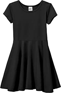 Girls' Cotton Short Sleeve Skater Party Twirly Dress