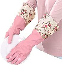 Winter Water Stop Fleece Warmer Floral Flower Latex Rubber Gloves Dishwashing Gloves Kitchen Gloves Pink