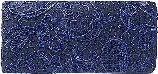 Clorislove - Bolso de noche clutch de satén - Bolso de novia con encaje floral y cadena para el hombro