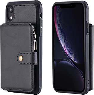 Phone Shell for iPhone XR Holder PU Leather Waterproof Black 6.1inch 8 Card Slots (ID Card,Credit Card) with Photo Frame Cash Slot Magnetic Buckle Zipper Coin Pocket Gift Girls Boys