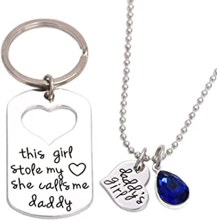 LParkin This Girl Stole My Heart She Calls Me Daddy Keychain Necklace Set Birthstone