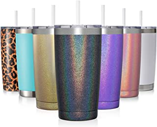 CIVAGO 20oz Insulated Stainless Steel Tumbler, Coffee Tumbler with Lid and Straw, Double Wall Vacuum Travel Coffee Mug, Po...