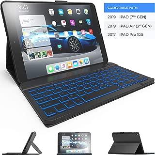 iPad Keyboard Case for iPad 10.2 2019, iPad Air 10.5 2019, iPad Pro 10.5 2017 - iPad 7th Generation Case with Keyboard - iPad Air 3rd Generation Case with Keyboard - Backlit - Slim Folio Cover (Black)