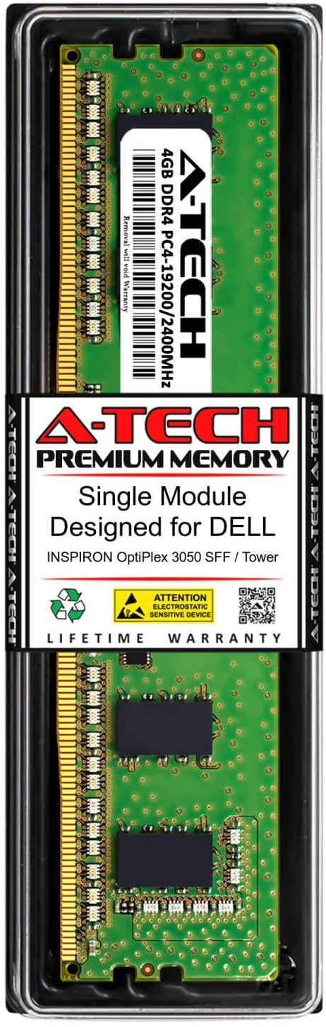 A-Tech 4GB RAM for DELL INSPIRON OPTIPLEX 3050 SFF/Tower | DDR4 2400MHz DIMM PC4-19200 288-Pin Non-ECC UDIMM Memory Upgrade Module