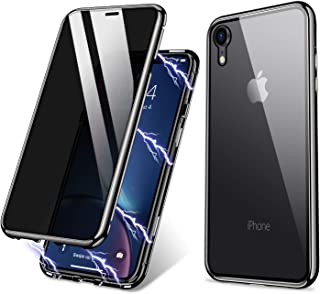 iPhone XR Case, ZHIKE Anti-Peep Magnetic Adsorption Case Front and Back Tempered Glass Full Screen Coverage One-Piece Design Flip Privacy Cover for Apple iPhone XR (Anti Spy-Clear Black)