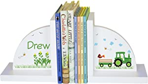 MyBambino Boy's Personalized Green Tractor Bookends