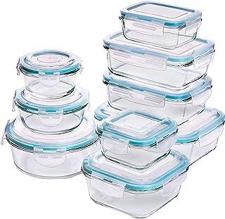 Recipiente KICHLY - Recipiente de vidrio para alimentos - 18 piezas (9 recipientes + 9 tapas) Tapas transparentes - Sin BPA - para cocina casera o restaurante