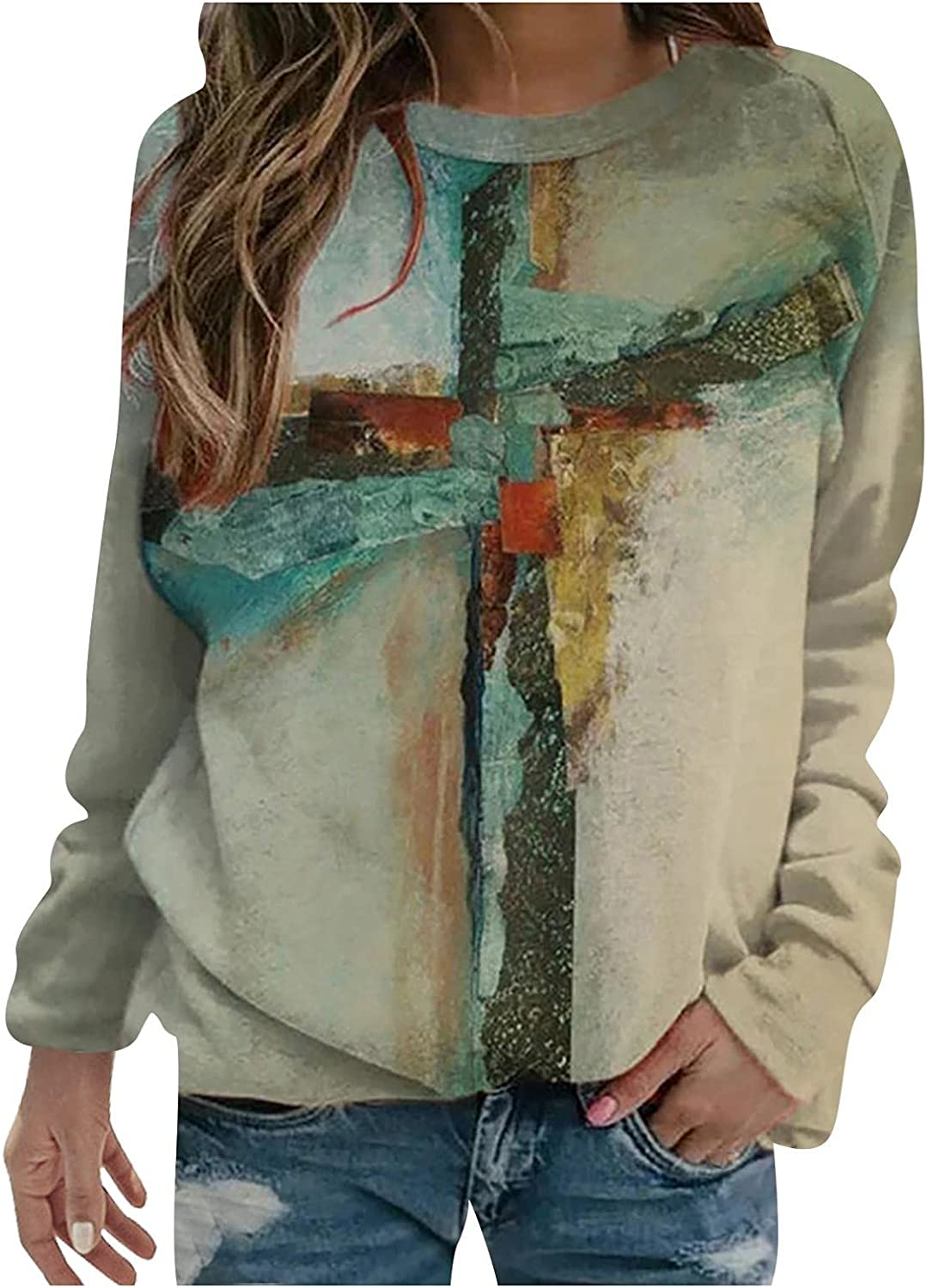 Plus-Size Women's Sweatshirt Casual T-Shirts: Painting Graphic Long Sleeve Crew Neck Novelty Loose Fall Tunic