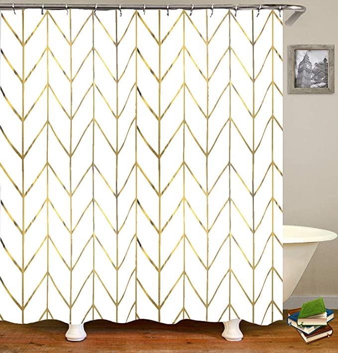 Jtmall Shower Curtain With Gold Chevron Geometric Pattern Gold Shower Curtain Hooks Rings White Fabric 72 Amazon Ca Home Kitchen