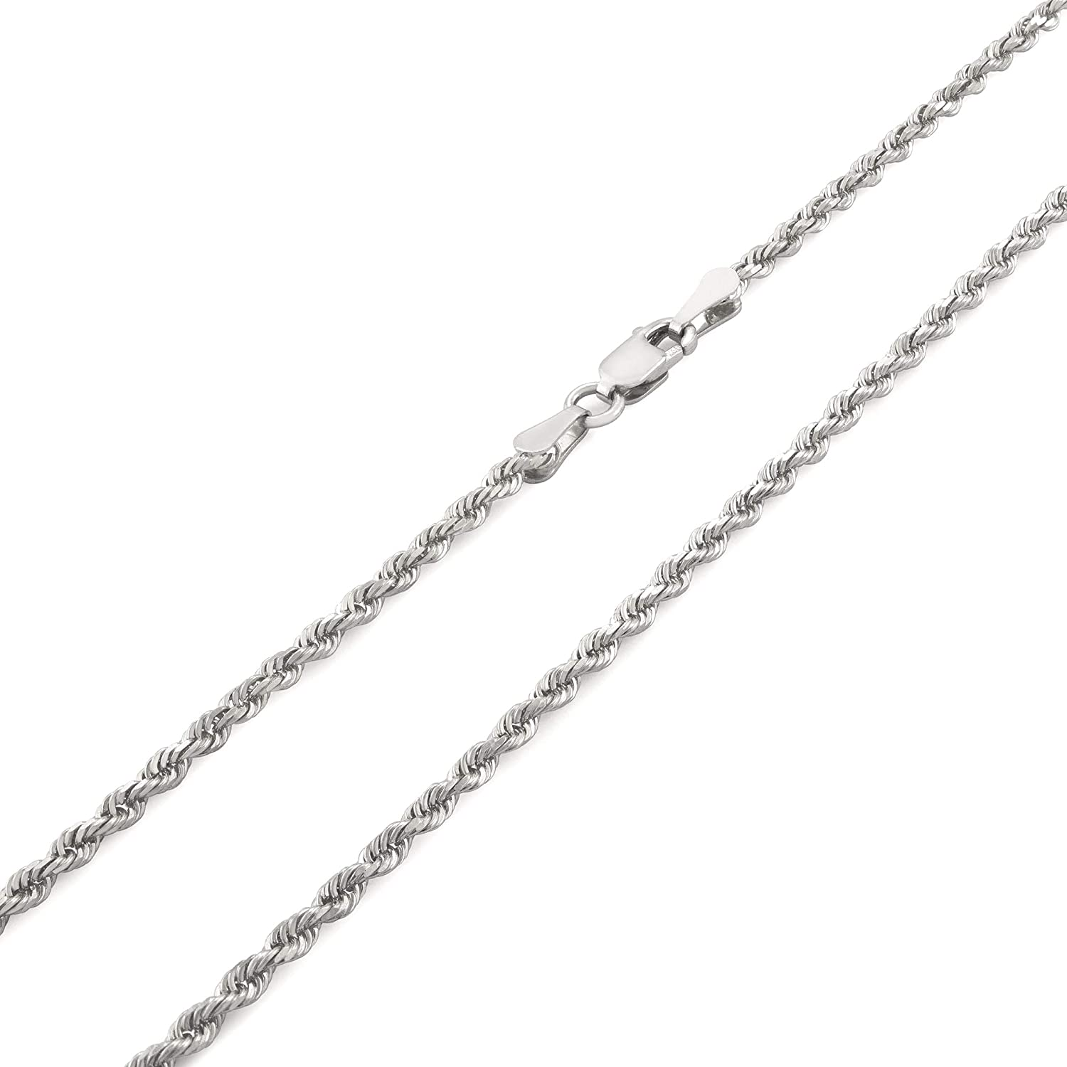 Nuragold 10k White Gold 2mm Rope Chain Diamond Cut Pendant Necklace, Mens Womens Lobster Lock 16