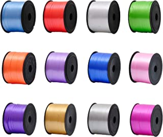 Aenoyo 12 Pieces 1200 Yards Curling Ribbon Balloon String Crimped Shiny Ribbon for Party Wedding Gifts Wrapping