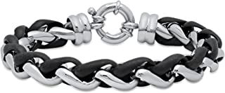STEEL NATION JEWELRY Men's Stainless Steel Intertwined Two-Tone Black/Gray Bracelet, 8.5-inches