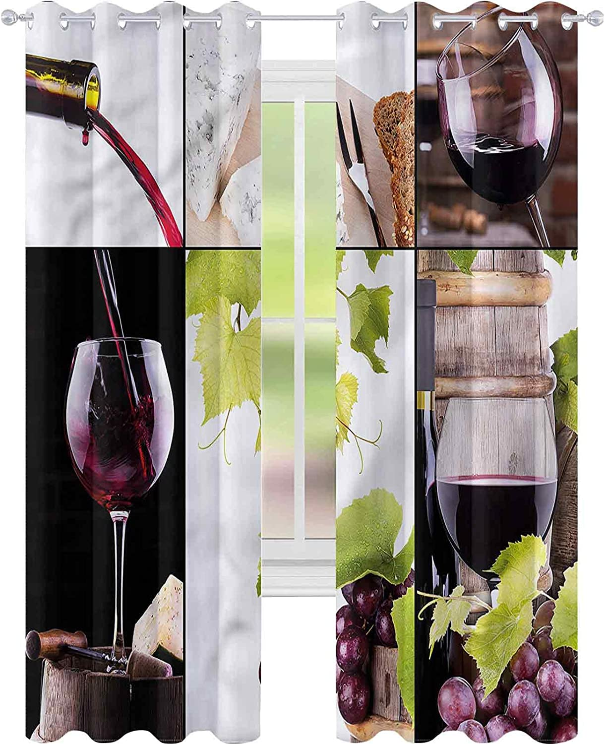 Window Curtain Drape Wine Barrel Bottle W52 Room Attention brand Inventory cleanup selling sale x Wineglass L63