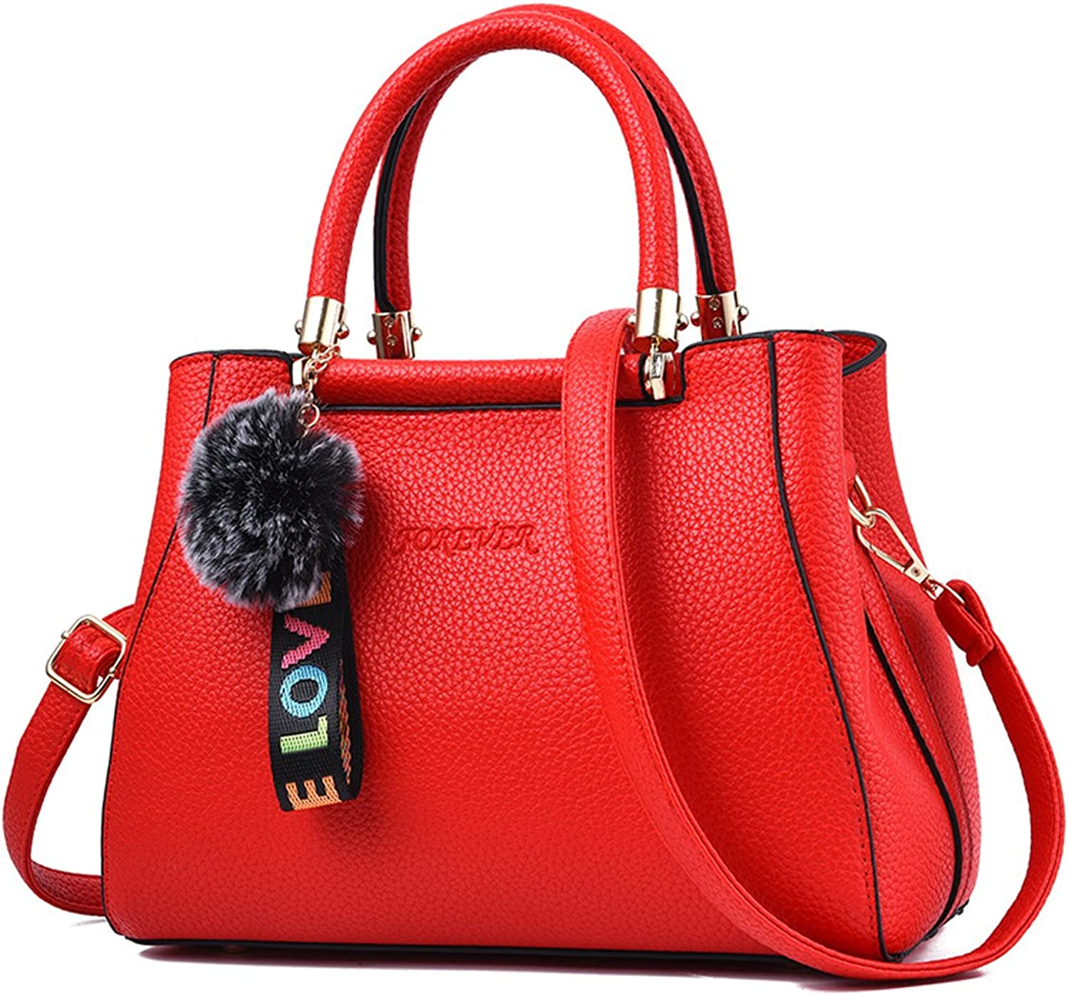 Flada Women PU Leather Tote Bags Shoulder HandBags Crossbody Bags TopHandle bags with Hairball
