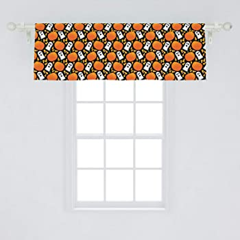 Amazon Com Ambesonne Halloween Window Valance Repetitive Spooky Elements Ghost And Pumpkins Curtain Valance For Kitchen Bedroom Decor With Rod Pocket 54 X 18 Marigold Fern Green Home Kitchen