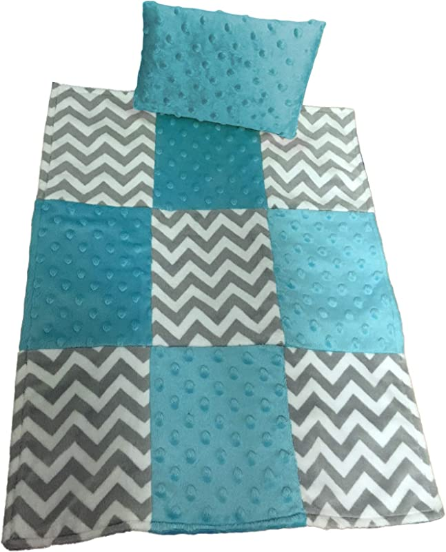 Baby Doll Cuddly Minky Chevron Patch Doll Blanket And Pillow Set Aqua
