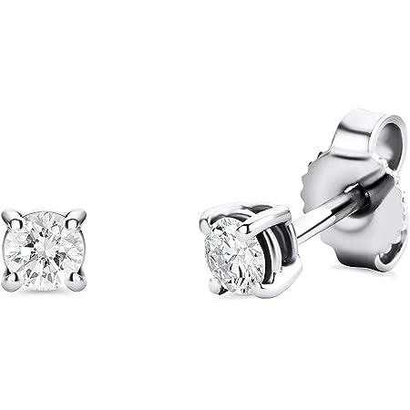 Orovi Pendientes para mujer con diamantes de oro blanco de 14 quilates (585) y diamantes brillantes de 0,25 quilates, hechos a mano en Italia