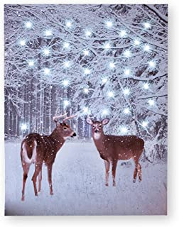 Collections Etc Winter Deer Lighted Wall Canvas Art