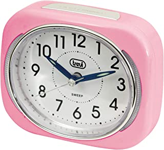Trevi Retro Bedside/Travel Alarm Clock with LED Backlight and Silent Sweep Second Hand, Plastic, Pink