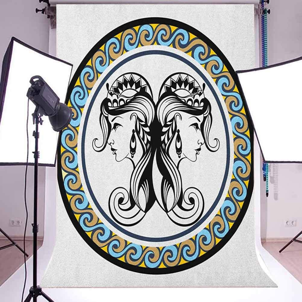 8x12 FT Beige Vinyl Photography Backdrop,Ornate Squared and Rounded Texture with Dimensional Axis Artwork Background for Party Home Decor Outdoorsy Theme Shoot Props