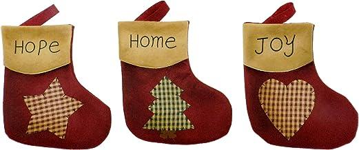 CVHOMEDECO. Primitive Vintage Design 7-1/2 Inch Christmas Tree Hanging Stockings Xmas Gift Bag Rustic Star, Tree, Heart Xm...